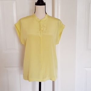 TIBI Yellow Silk Short Sleeve Top